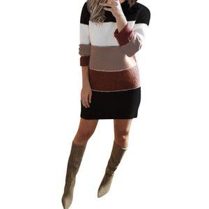 Stripe Knit Sweater Dress